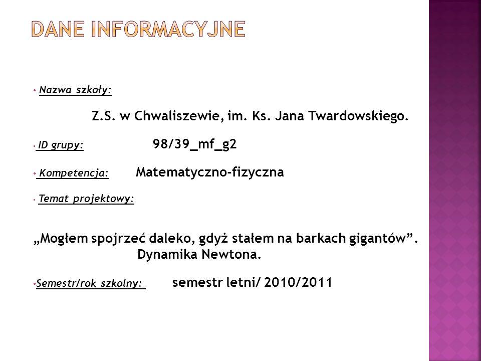 DANE INFORMACYJNE Nazwa szkoły: Z.S. w Chwaliszewie, im. Ks. Jana Twardowskiego. ID grupy: 98/39_mf_g2.