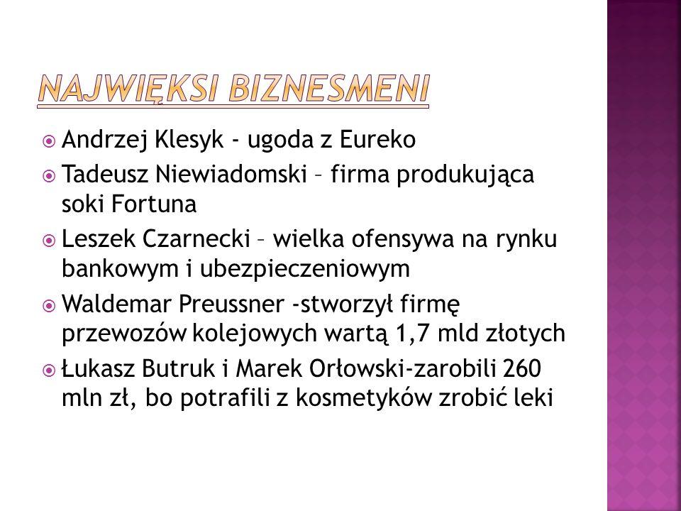 Najwięksi biznesmeni Andrzej Klesyk - ugoda z Eureko