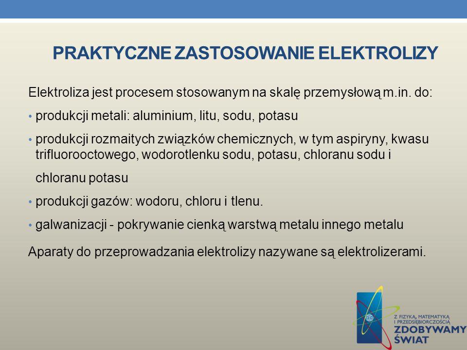 Praktyczne zastosowanie elektrolizy