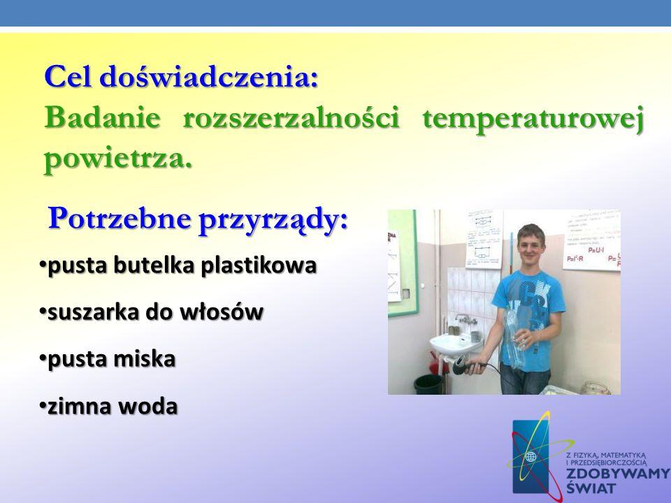 Badanie rozszerzalności temperaturowej powietrza.