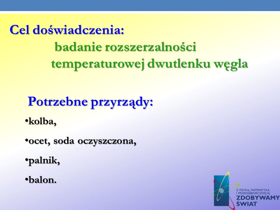 badanie rozszerzalności temperaturowej dwutlenku węgla