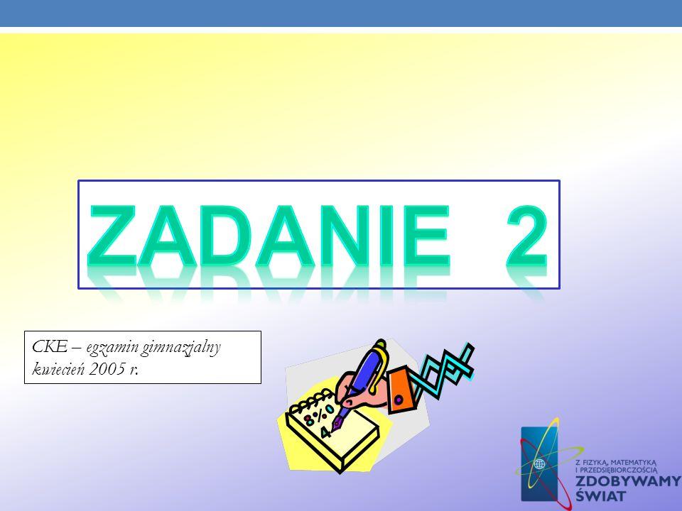 ZADANIE 2 CKE – egzamin gimnazjalny kwiecień 2005 r.