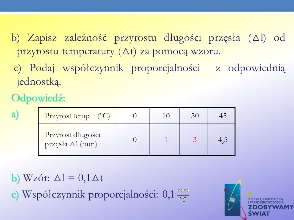 b) Zapisz zależność przyrostu długości przęsła (△l) od przyrostu temperatury (△t) za pomocą wzoru. c) Podaj współczynnik proporcjalności z odpowiednią jednostką. Odpowiedź: a) b) Wzór: △l = 0,1△t c) Współczynnik proporcjalności: 0,1
