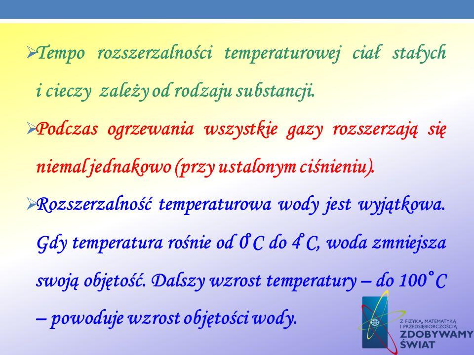 Tempo rozszerzalności temperaturowej ciał stałych i cieczy zależy od rodzaju substancji.