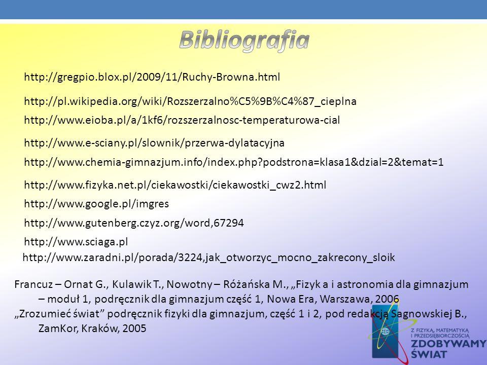 Bibliografia http://gregpio.blox.pl/2009/11/Ruchy-Browna.html