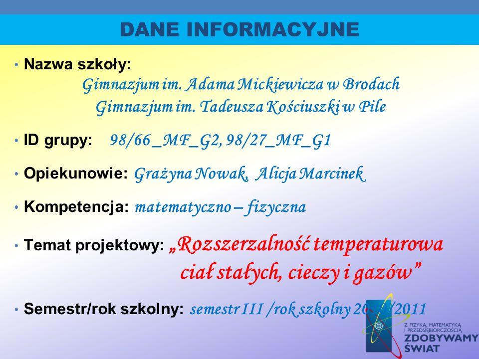 DANE INFORMACYJNE Gimnazjum im. Adama Mickiewicza w Brodach