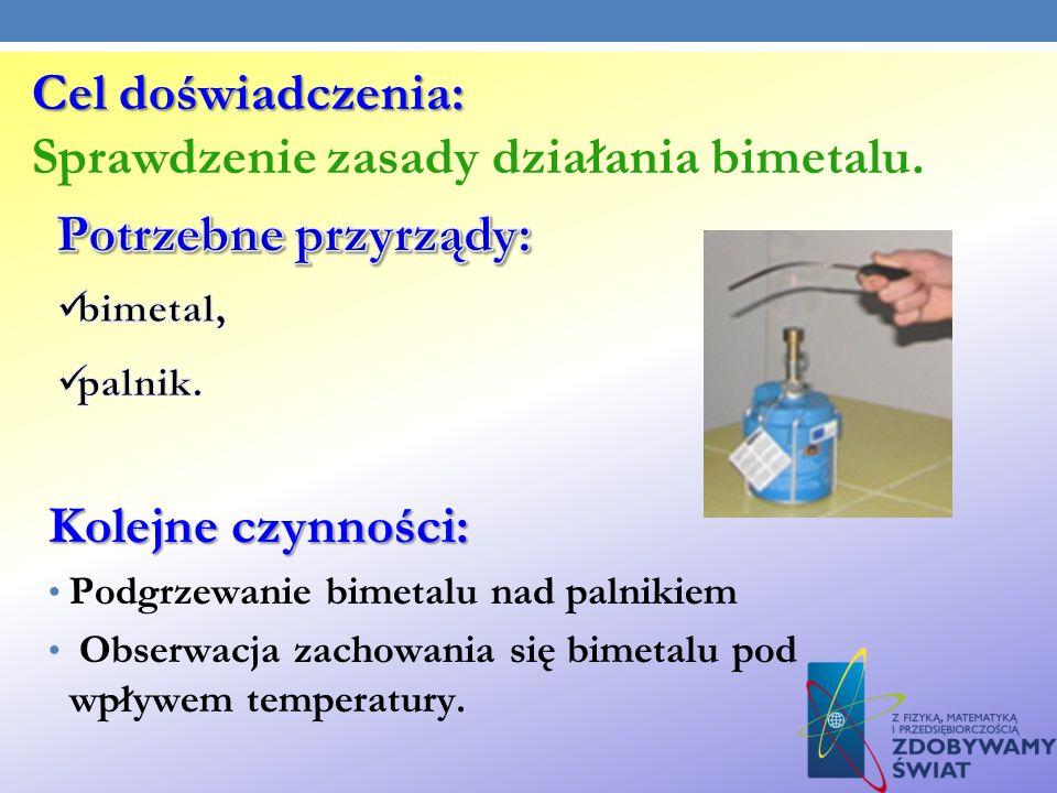 Cel doświadczenia: Sprawdzenie zasady działania bimetalu.
