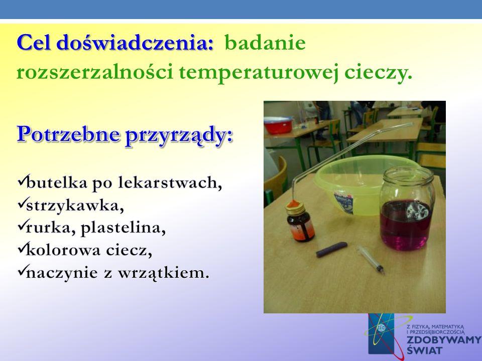 Cel doświadczenia: badanie rozszerzalności temperaturowej cieczy.