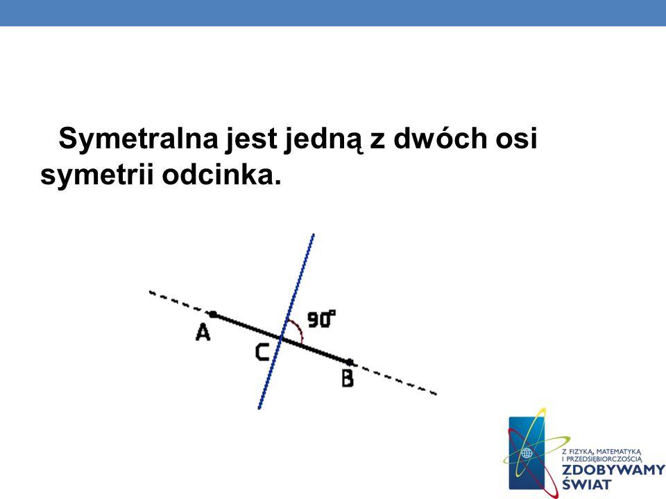 Symetralna jest jedną z dwóch osi symetrii odcinka.