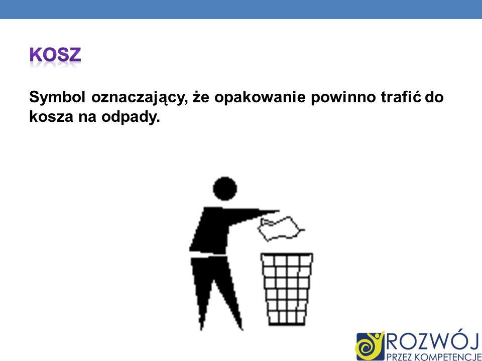 Kosz Symbol oznaczający, że opakowanie powinno trafić do kosza na odpady.
