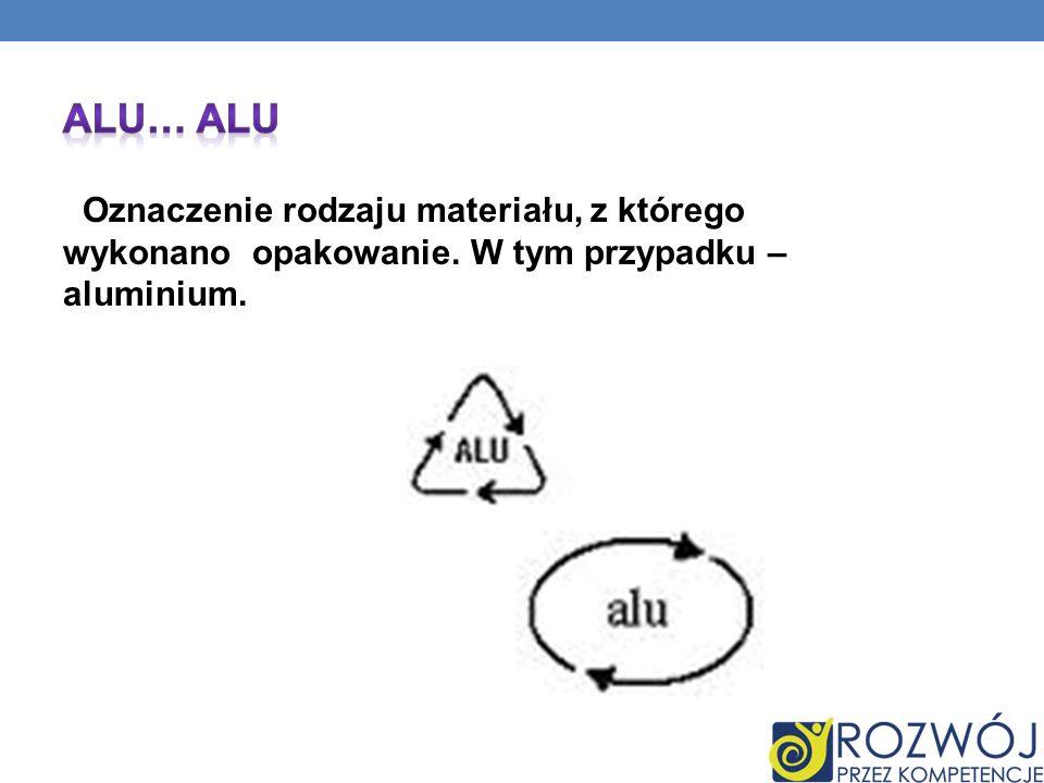 ALU… ALU Oznaczenie rodzaju materiału, z którego wykonano opakowanie.