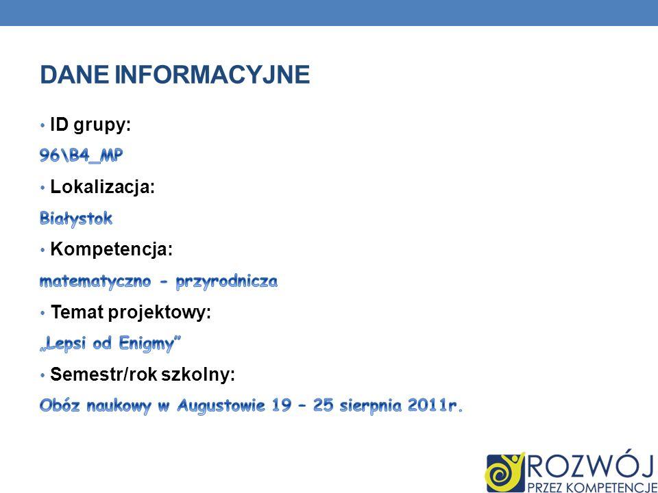 Dane INFORMACYJNE ID grupy: Lokalizacja: Kompetencja: