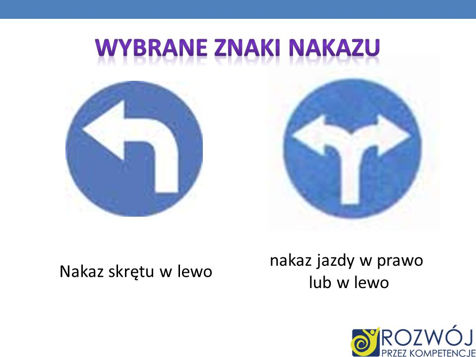 Wybrane Znaki nakazu nakaz jazdy w prawo Nakaz skrętu w lewo