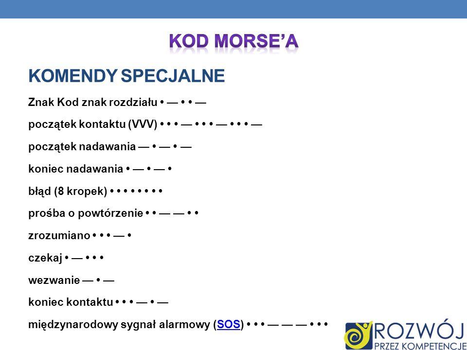 Kod Morse'a Komendy specjalne