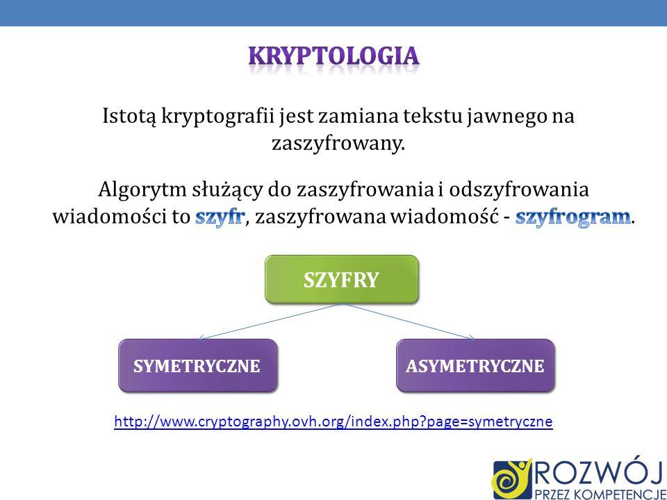 Istotą kryptografii jest zamiana tekstu jawnego na zaszyfrowany.