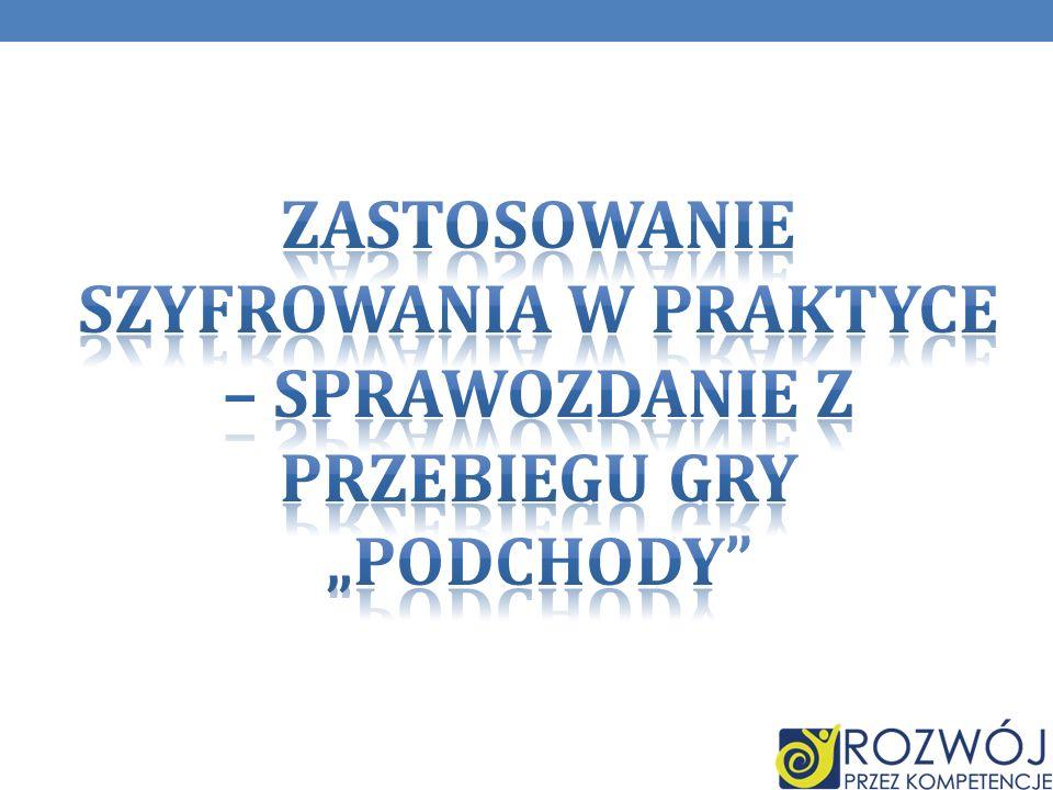 """ZASTOSOWANIE SZYFROWANIA W PRAKTYCE – sprawozdanie z przebiegu GRy """"PODCHODY"""