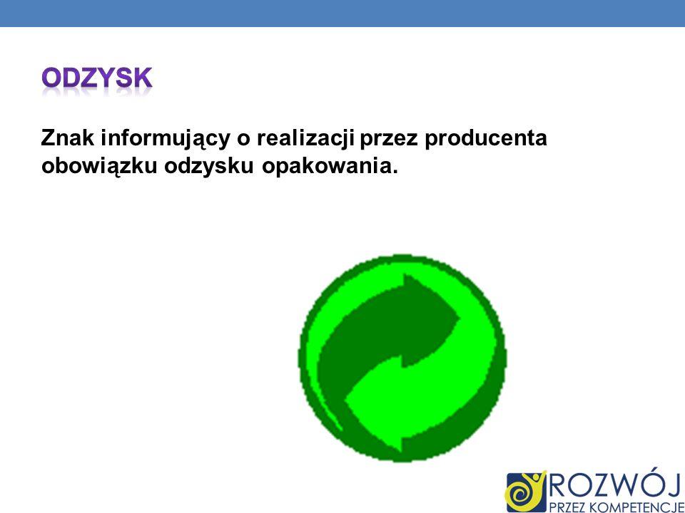 Odzysk Znak informujący o realizacji przez producenta obowiązku odzysku opakowania.