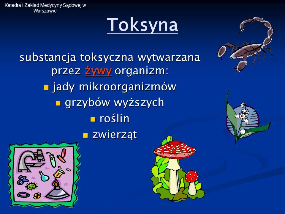 Toksyna substancja toksyczna wytwarzana przez żywy organizm: