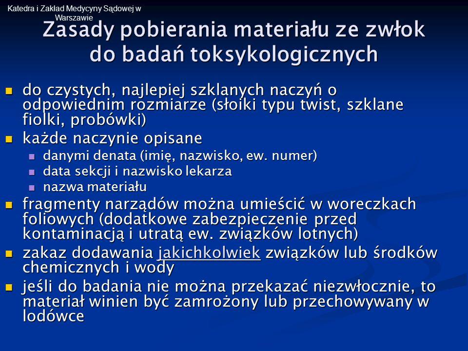 Zasady pobierania materiału ze zwłok do badań toksykologicznych