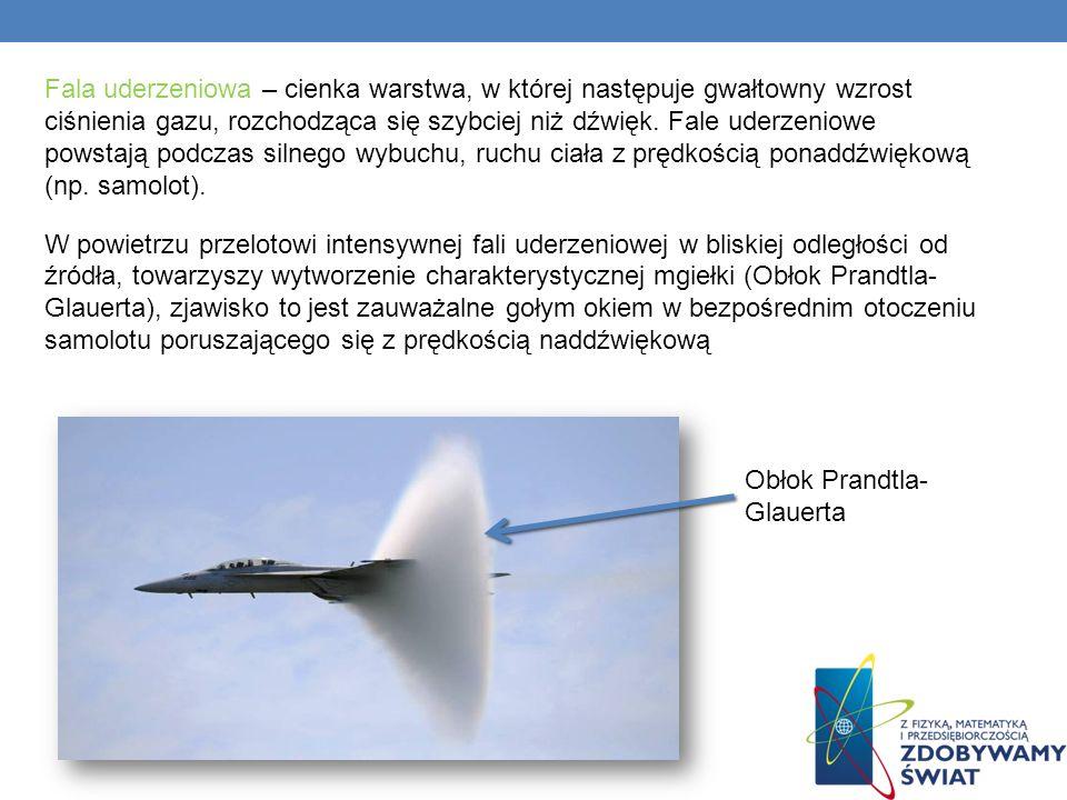 Fala uderzeniowa – cienka warstwa, w której następuje gwałtowny wzrost ciśnienia gazu, rozchodząca się szybciej niż dźwięk. Fale uderzeniowe powstają podczas silnego wybuchu, ruchu ciała z prędkością ponaddźwiękową (np. samolot). W powietrzu przelotowi intensywnej fali uderzeniowej w bliskiej odległości od źródła, towarzyszy wytworzenie charakterystycznej mgiełki (Obłok Prandtla- Glauerta), zjawisko to jest zauważalne gołym okiem w bezpośrednim otoczeniu samolotu poruszającego się z prędkością naddźwiękową