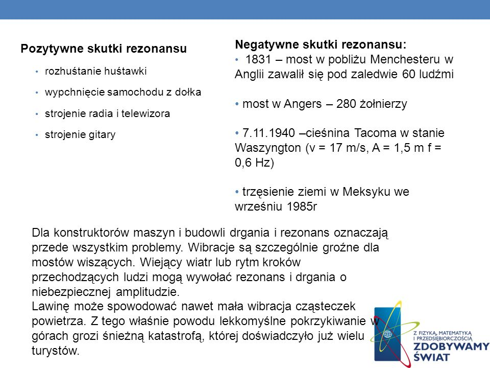 Negatywne skutki rezonansu: