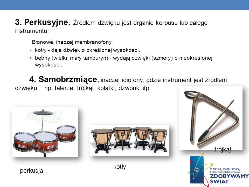3. Perkusyjne. Źródłem dźwięku jest drganie korpusu lub całego instrumentu.