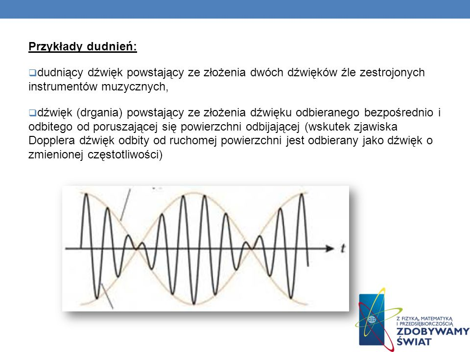 Przykłady dudnień: dudniący dźwięk powstający ze złożenia dwóch dźwięków źle zestrojonych instrumentów muzycznych,