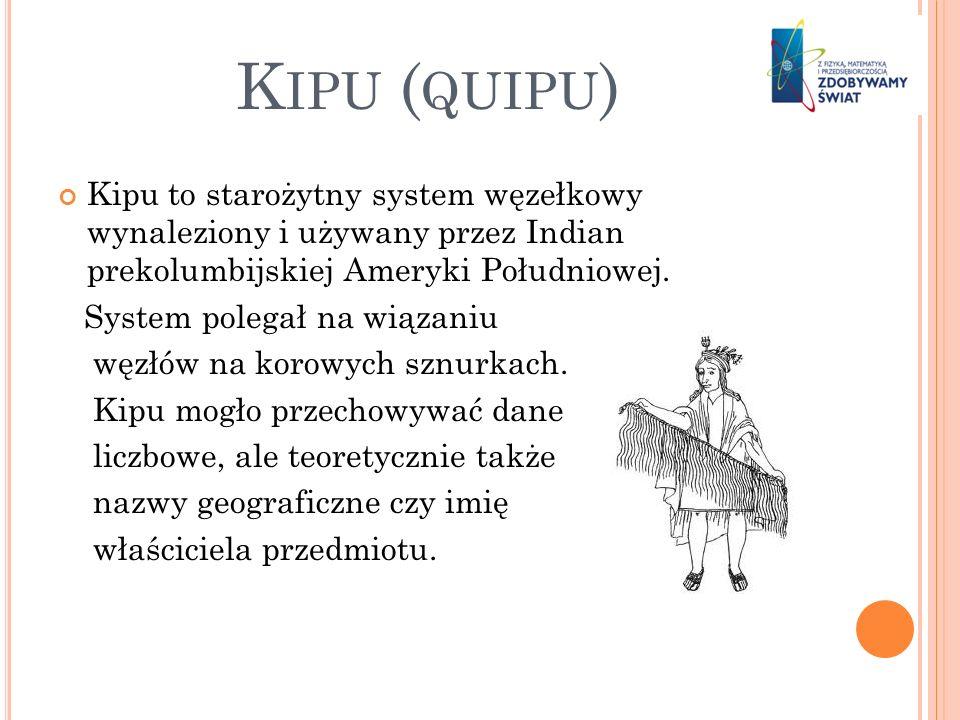 Kipu (quipu) Kipu to starożytny system węzełkowy wynaleziony i używany przez Indian prekolumbijskiej Ameryki Południowej.