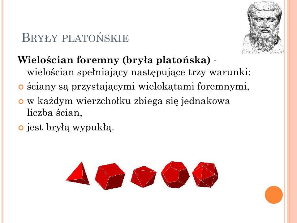 Bryły platońskie Wielościan foremny (bryła platońska) - wielościan spełniający następujące trzy warunki: