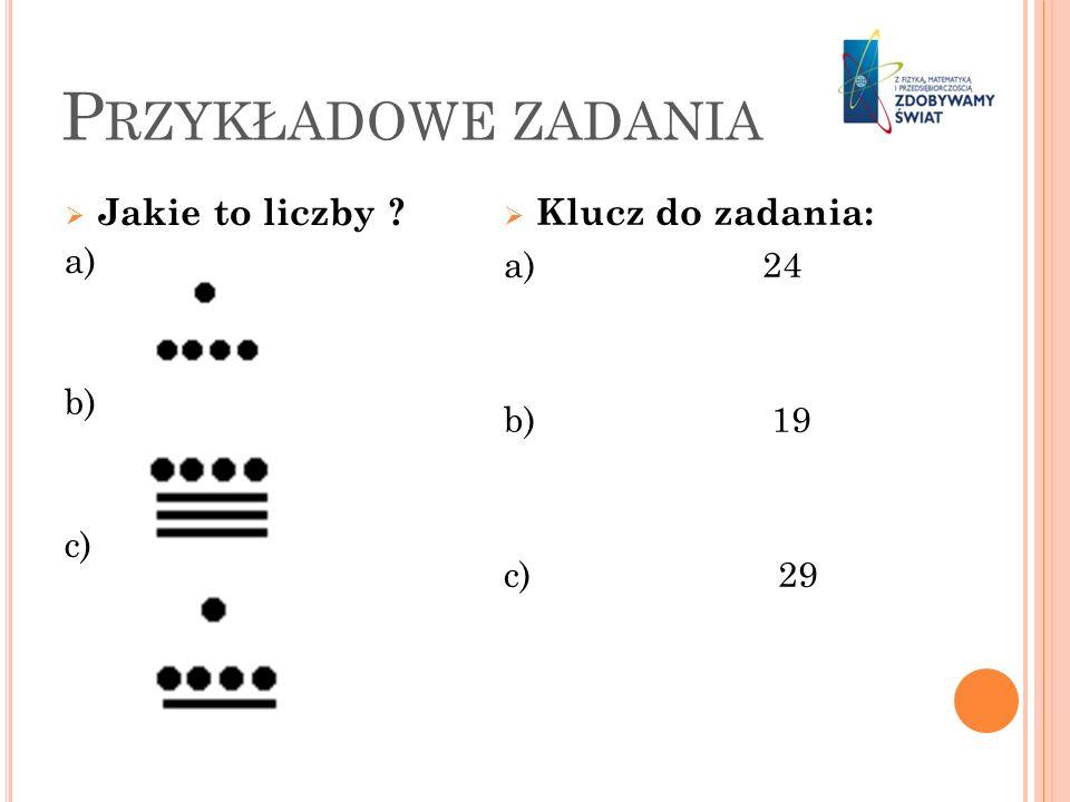 Przykładowe zadania Klucz do zadania: Jakie to liczby a) a) 24 b)