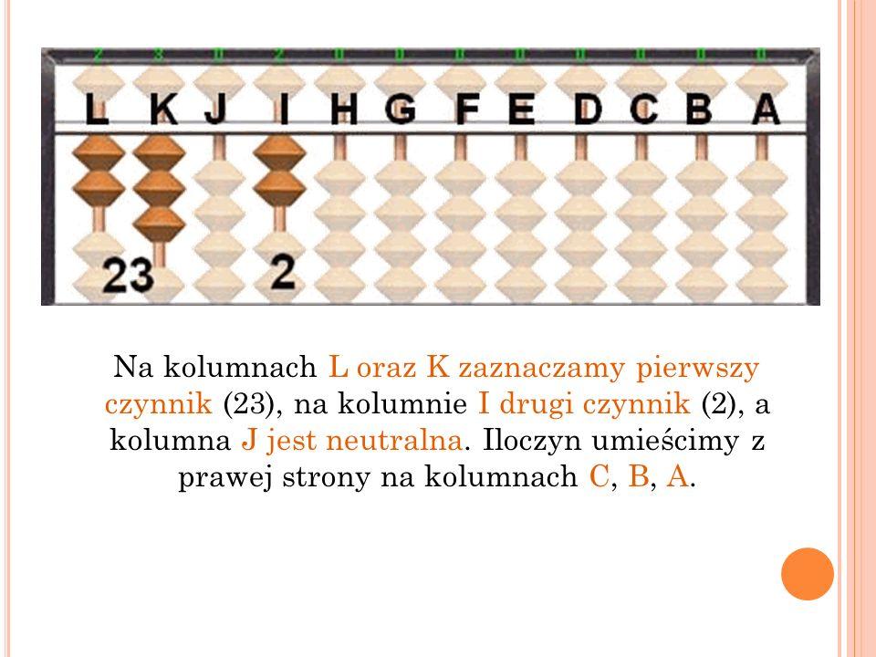 Na kolumnach L oraz K zaznaczamy pierwszy czynnik (23), na kolumnie I drugi czynnik (2), a kolumna J jest neutralna.