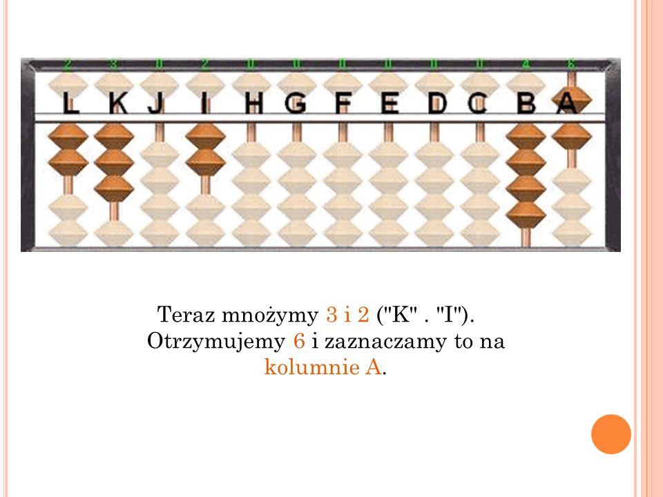 Teraz mnożymy 3 i 2 ( K . I ). Otrzymujemy 6 i zaznaczamy to na kolumnie A.