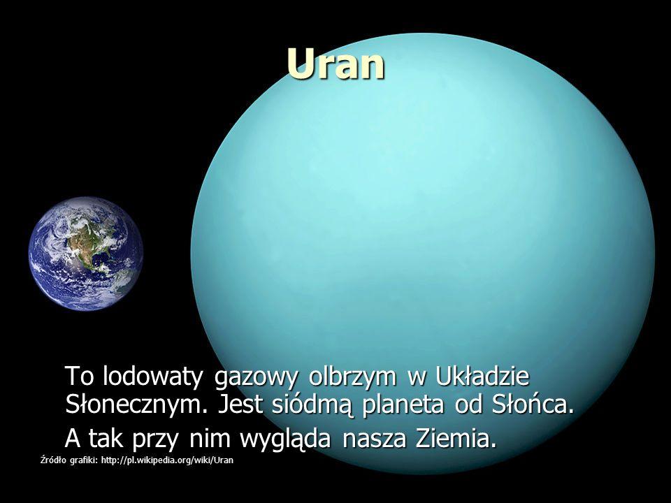 Uran To lodowaty gazowy olbrzym w Układzie Słonecznym. Jest siódmą planeta od Słońca. A tak przy nim wygląda nasza Ziemia.