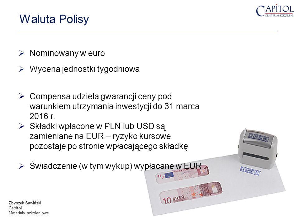 Waluta Polisy Nominowany w euro Wycena jednostki tygodniowa