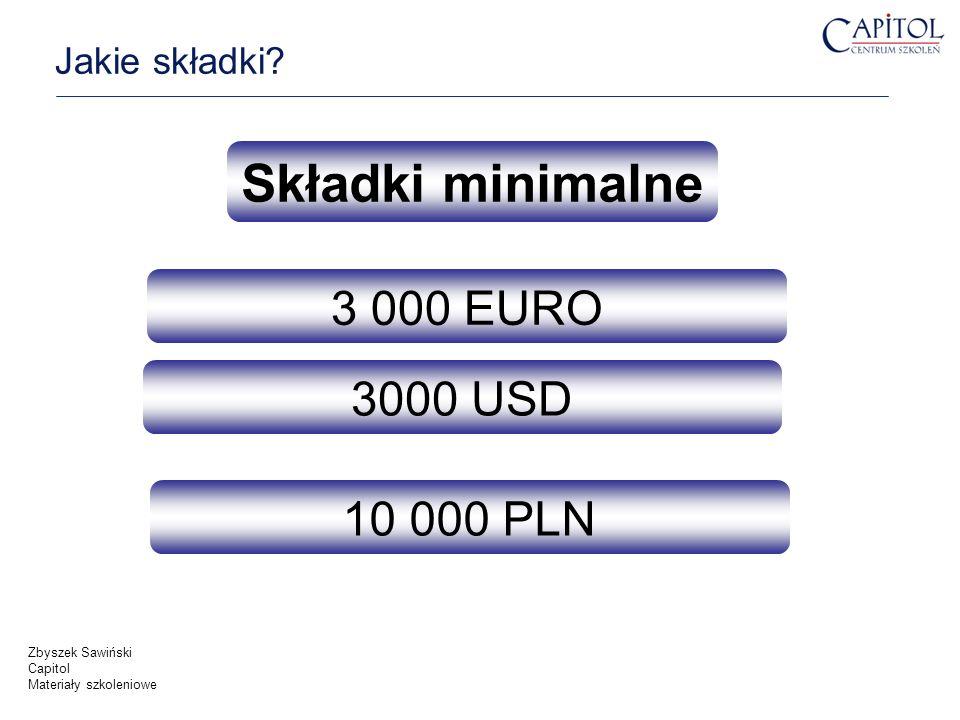 Składki minimalne 3 000 EURO 3000 USD 10 000 PLN Jakie składki