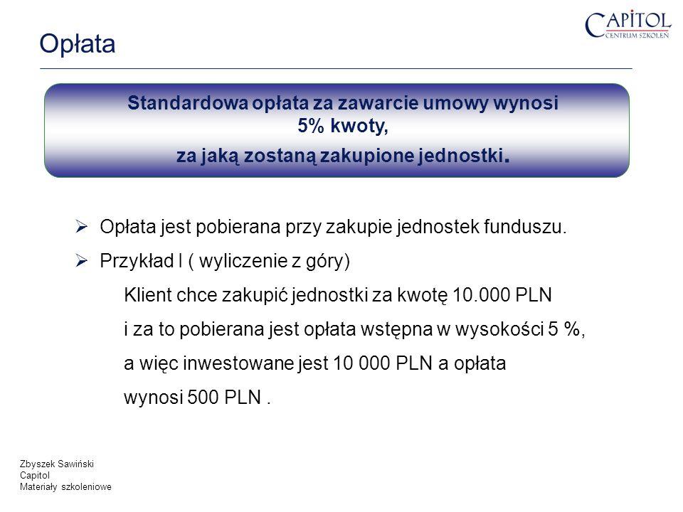 Opłata Standardowa opłata za zawarcie umowy wynosi 5% kwoty, za jaką zostaną zakupione jednostki.