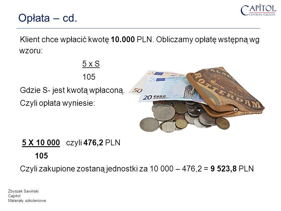 Opłata – cd. Klient chce wpłacić kwotę 10.000 PLN. Obliczamy opłatę wstępną wg wzoru: 5 x S. 105.