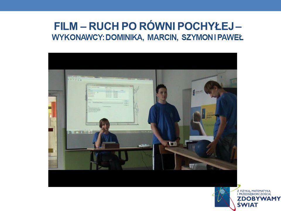 Film – ruch po równi pochyłej – wykonawcy: Dominika, marcin, Szymon i Paweł