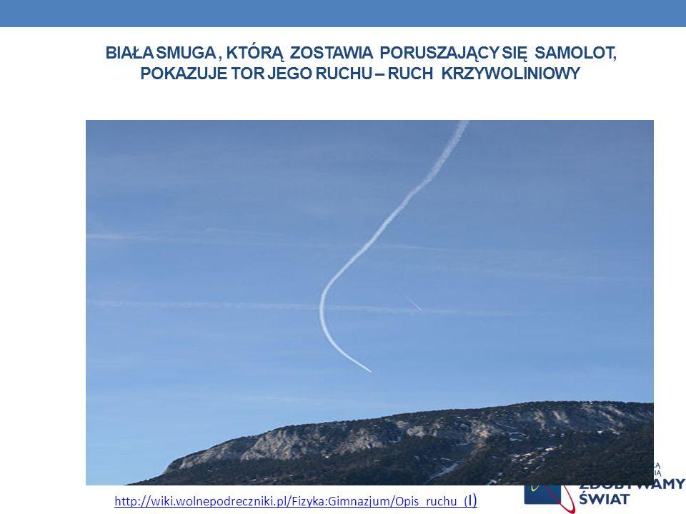 Biała smuga , którą zostawia poruszający się samolot, pokazuje tor jego ruchu – ruch krzywoliniowy