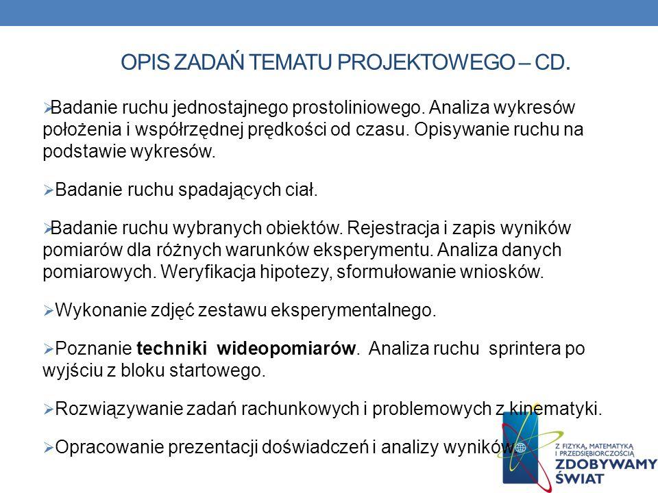 OPIS ZADAŃ TEMATU PROJEKTOWEGO – cd.