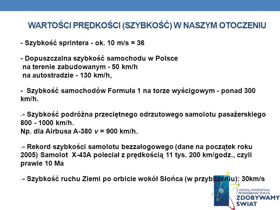Wartości prędkości (szybkość) w naszym otoczeniu