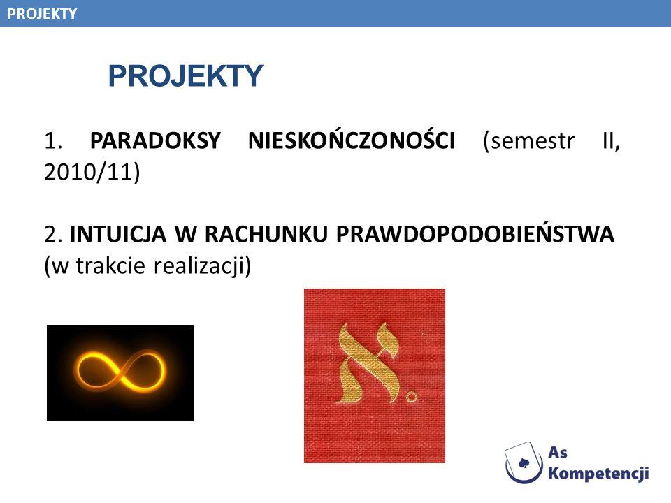 1. PARADOKSY NIESKOŃCZONOŚCI (semestr II, 2010/11)