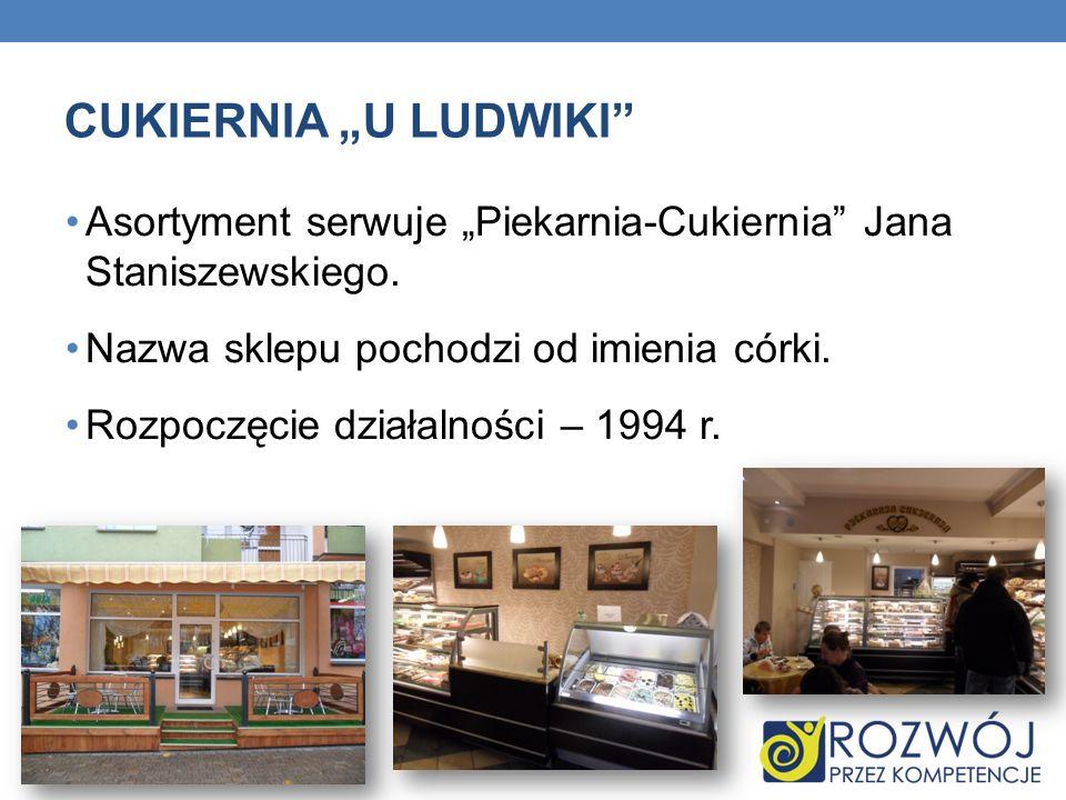 """CUKIERNIA """"U LUDWIKI Asortyment serwuje """"Piekarnia-Cukiernia Jana Staniszewskiego. Nazwa sklepu pochodzi od imienia córki."""