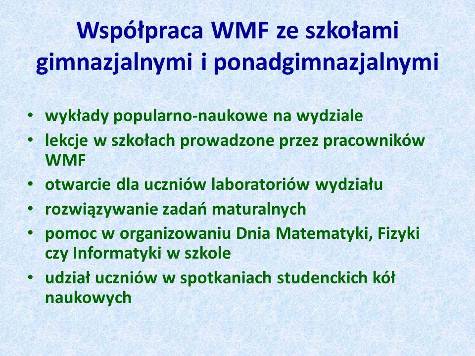 Współpraca WMF ze szkołami gimnazjalnymi i ponadgimnazjalnymi