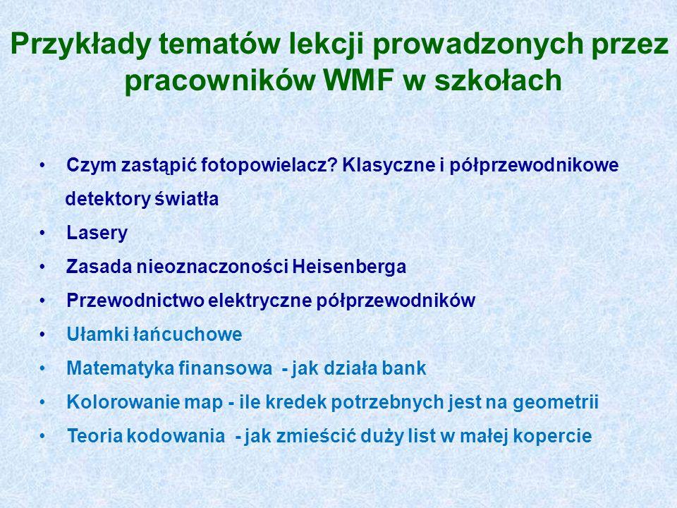Przykłady tematów lekcji prowadzonych przez pracowników WMF w szkołach