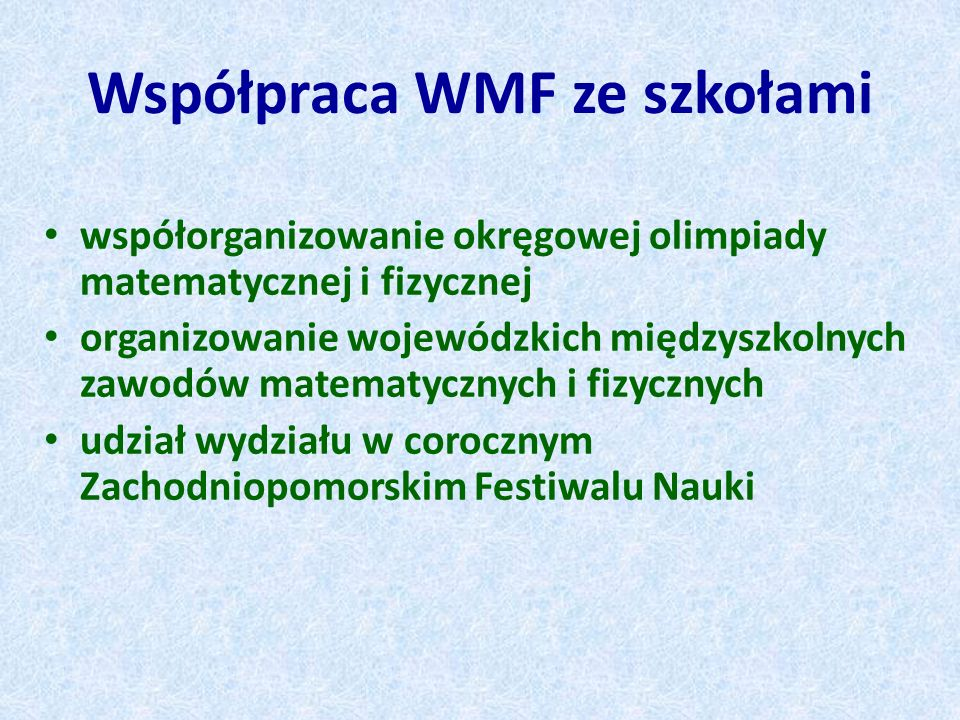 Współpraca WMF ze szkołami