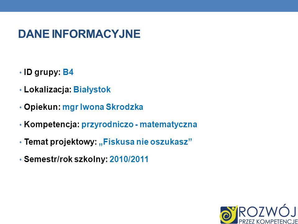 Dane INFORMACYJNE ID grupy: B4 Lokalizacja: Białystok
