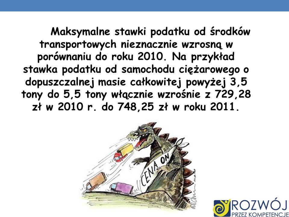 Maksymalne stawki podatku od środków transportowych nieznacznie wzrosną w porównaniu do roku 2010.