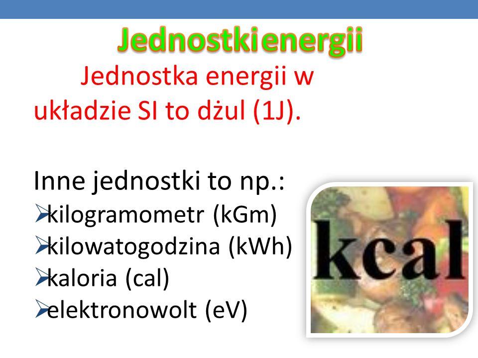 Jednostki energii Inne jednostki to np.: kilogramometr (kGm)