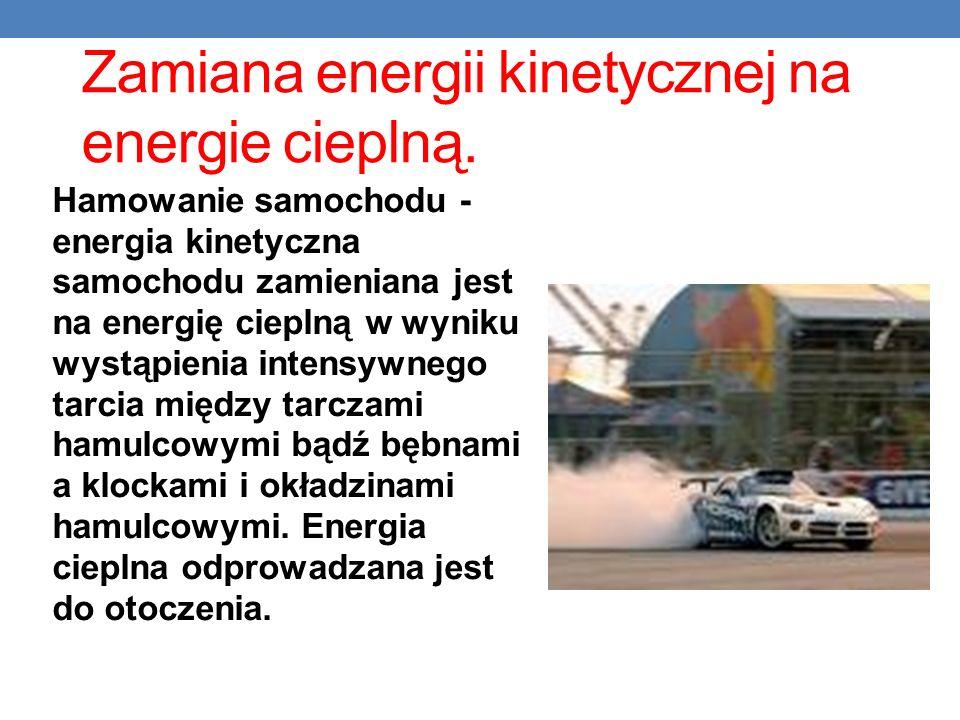 Zamiana energii kinetycznej na energie cieplną.